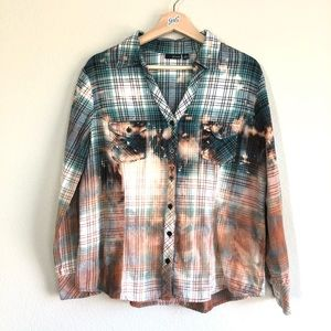 Upcycled A.N.A plaid flannel XL